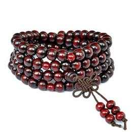 Wholesale-6mm Tibetan Buddhist 108 Wood Prayer Bead Mala Necklace Bracelet