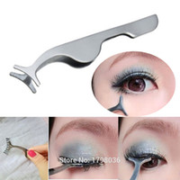 Wholesale Clip Eyelashes curler tweezer False Fake stainless steel Eye Lash Applicator Beauty Makeup Cosmetic Tool