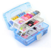 Cheap Wholesale-Professional 3 Layer Multi Utility Storage Case Nail Art Box Manicure Nail Tools Makeup Box Equipment Kits