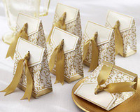 Wholesale 100 Gold Ribbon Wedding Favor Candy Boxes Gift Box