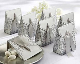 100 Pcs Unique Silver Ribbon Candy Boxes Wedding Favor Gift Box or Gold color