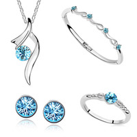Wholesale Fashion Platinum Plated color Austrian Crystal Jewelry Sets Pendant Necklace Bangle Ring Earrings Bridal Accessories