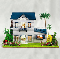 Wholesale DIY wooden doll house miniatura cute Mediterranean home miniature casa casinha de boneca furniture