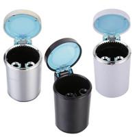 auto ashtrays - Led Light Portable Car Truck Auto Office Home Cigarette Ashtray Holder Car Accessories LED Ashtray Smokeless