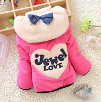Wholesale New Winter Baby Girls Fashion Bow Warm Coat Kids Thickening Outerwear A310