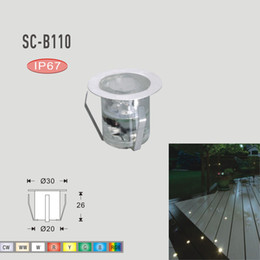 Wholesale-7Colors Stainless Steel Patio LED Decks Light DC12V 0.6W IP67 SMD2835 LED Outdoor Lighting Garden Decoration Underground Lamps