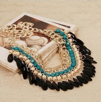 n455 - New Bohemian Beaded Water Drop Tassel Vintage Choker Neon Bib Statement Necklace XY N455