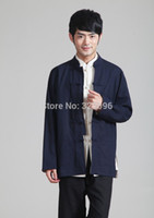 Wholesale chinese traditional Two sided wear mandarin collar reversible jacket Linen kung fu Top Blue Beige