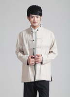Wholesale chinese traditional Two sided wear mandarin collar reversible shirt Linen kung fu Shirt Blue Beige