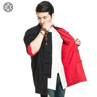 Wholesale Chinese Traditional Martial Arts Kung Fu Jacket Cotton And Linen Wear Tang Jersey Both Sides Chinese Style Male Coat