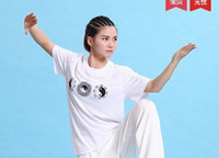 Wholesale Pure cotton spring summer fun and tai chi suits half sleeve blouse tai chi martial arts clothing T shirt short sleeve T shirt