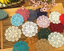 Wholesale Hand Hook Flower Coaster CM Lace Flowers Handmade Doily Crocheted Cup Mat Round Placemats