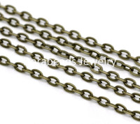 Wholesale M Bronze Tone Flat Link Opened Chains x2mm B12778