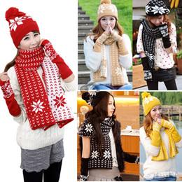 Atacado-Stylish New Fashion Design Chapéu do floco de neve Cachecol Hat Mulheres Feminino Glove + chapéu + lenço 3Pcs / Set #