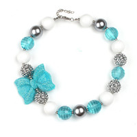 aqua beads wholesale - New Arrival Aqua White Silver Gumball Beaded Rhinestone Bow Toddler Bubblegum Necklace Beads Necklace for Birthday Gift