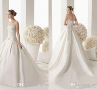 ball j - 2015 Spring A Line Wedding Dresses With Appliqued Beads Sash Satin Strapless Chapel Train With Zipper Back Vintage Ivory Bridal Gowns J