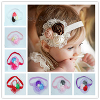 Wholesale 2015 new arrival cute girl hair headband Europe rose flower lace baby headband tiara color Children s Hair Accessories optional