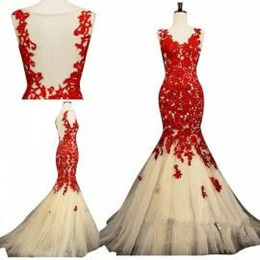 Red Backless Mermaid Prom Dresses 2015 Prom Dress Sheer V Neck Sleeveless Open Back Brush Train Princess Gowns Cheap Evening Dresses 2015
