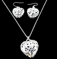 Wholesale Fashion jewelry hot sell sterling silver flower heart earrings amp necklace jewelry set