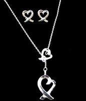 Women's Silver Plate/Fill Earrings & Necklace WHOLESALE--Elegant women's jewelry 925 silver plated heart style earrings&necklace set PT051
