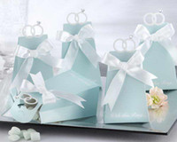 Wholesale quot with this ring quot Blue Candy Boxes with RIBBON Party Favors Boxes Wedding Favors and Party Supplies