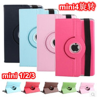 Wholesale For Apple iPad mini Tablet cases Degree Rotating Litchi Veins PU Leather Case Cover For iPad Mini