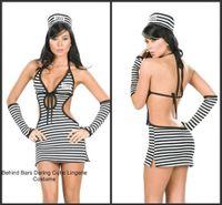 Wholesale Sleeveless Black And White Stripes Prisoner Halloween Cosplay Costume Carnival Sexy Costume Fantasias Feminias Mini Vestido With Glove