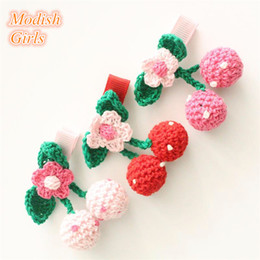 2016 Wool Ball Flower Lovely Fruit Red Pink Cherry with Leaf Shape Hair Clips Lovely Headwear Cute Princess Hair Accessories Korean Style