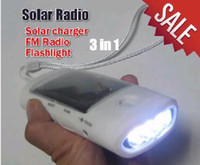 Wholesale 20pcs lotMultifunctional in Solar Charger Solar Flashlight torch FM radio novelty product