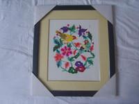 Wholesale Chinese Handicraft Scissor cut Double Magpie Folk Art Colourful Paper cut Picture Frame