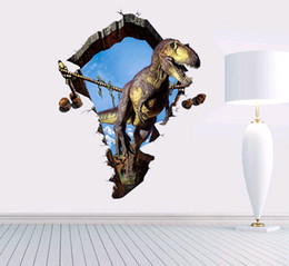 Wholesale 3D Creative Cartoon Wall Stickers Dinosaur Three dimensional Hole Special Stickers Of Children Room Decorate Wall Stickers Christmas Gift