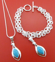 Wholesale Fashion jewelry sterling silver shinning heart gemstone necklace amp bracelet jewelry set