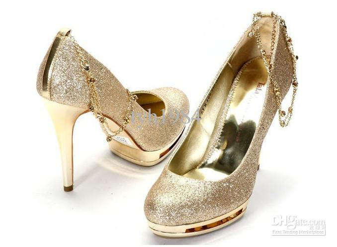 2012 Nightclub Wedding Shoes Gold Waterproof Ultra High Heels