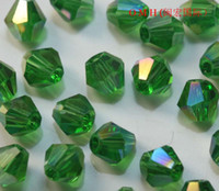 Wholesale China s ornaments Exempt freight green bicone glass crystal beads AB mm