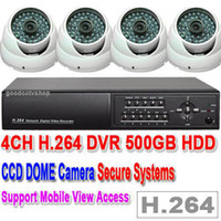 Wholesale 4 DOME WHITE CAMERAS SECURITY CH DVR SYSTEM GB HDD PTZ Control RS485 network TCP