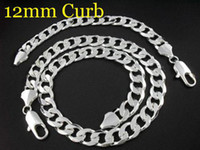 Wholesale 12MM fashion Silver Curb Chain necklace and bracelet sets fit pretty box pouch