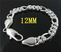 Wholesale XMAS Gift Silver men s Figaro chain bracelet MM inch cm brand with box and pouch