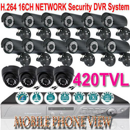 Wholesale 16CH NETWORK DVR SYSTEM GB HDD CCTV IR CAMERAS monitoring Playback fps Mobile access