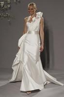Satin wedding dresses 2011 - 2011 New arrvial hot sale Wedding dresses one shoulder Satin floor length Wedding Dress RK015