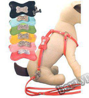 Wholesale leather dog collars colors rhinestone bone leatheroid step in dog harness