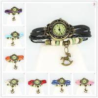 batteries trojan - Women Girls Retro Braided Leather Watches Bracelet Decoration Quartz Wristwatches Trojan Horse Charms Ornament Buckle Buckle Wrist Watch