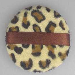 30 pcs lot Face and Body Powder Puff Ribbon-style Brown leopard Design Makeup Powder Puff 85mm