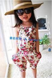 Wholesale Girls Pants Floral cotton Siamese Shorts