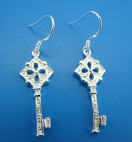 Wholesale Fashion Jewelry sterling silver shinning heart square key earring jewelry