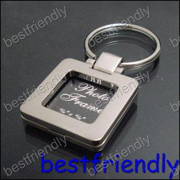 100pcs New Alloy square photo mix picture frame Women's key chain ring keyring keychain keyrings