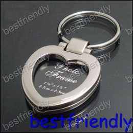 50pcs New Alloy heart photo picture frame Women's key chain Chains ring keyring keychain keyrings
