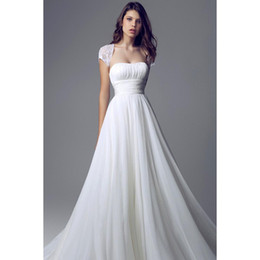 Cheap White Beach Wedding Dresses strapless A-line Wedding Dresses Empire Bodice Chiffon Long Bridal gown