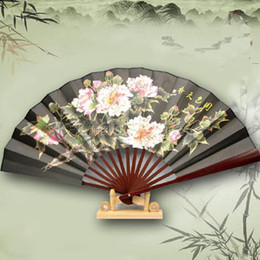 "10"" Men's Large Dance Show Props Hand Fan Chinese style Silk Folding Crafts Fan Home Decoration Business Gift 5pcs lot Free shipping"