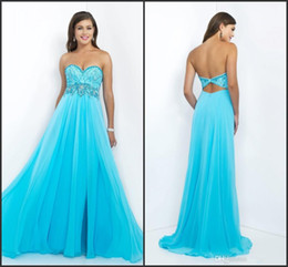 Wholesale Sweetheart Aqua Blue Prom Dresses New Embellished with Beads A Line Chiffon Backless Formal Celebrity Gowns SL10 by Blush