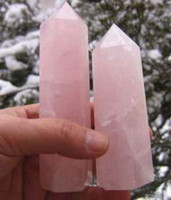 healing crystals - 2 CRYSTAL point rose quartz healing